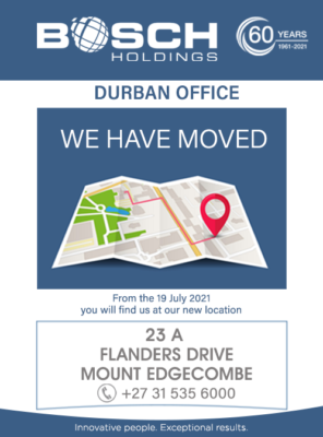 Bosch Holdings Durban office is moving!